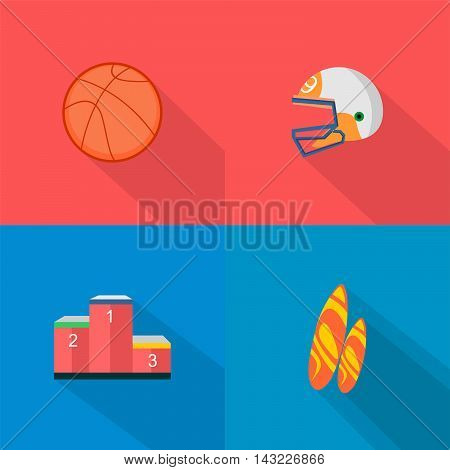 Set of great flat icons with style long shadow icon and use for sport, hobby , job and much more.