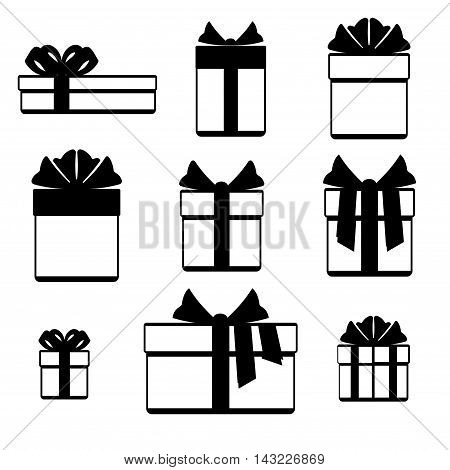 Gift boxes with ribbon bows icons set isolated over white. Christmas gift box in monichrome style. Vector illustration