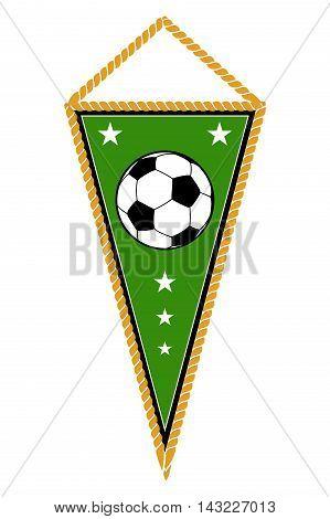 Green soccer pennant isolated white. Football flag banner, vector illustration
