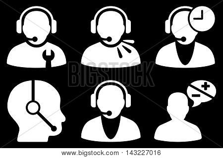 Call Center Operator vector icons. Pictogram style is white flat icons with rounded angles on a black background.