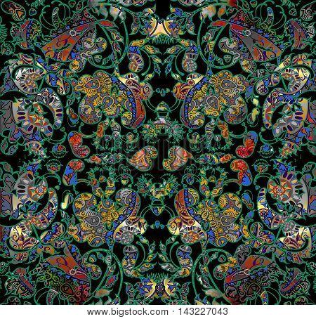 symmetric dark floral shabby oriental pattern motley