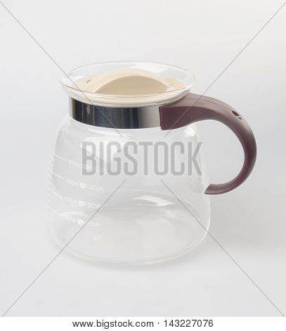 Tea Pot Or Empty Glass Teapot On Background.