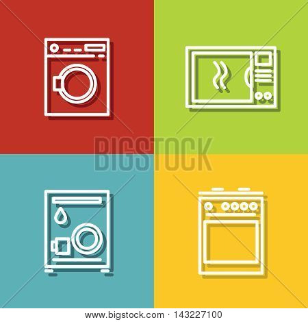 Household appliances icons in line style on color background. Equipment for kitchen, vector illustration