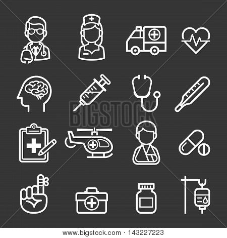 Medicine and Health icons set. Vector illustrations.