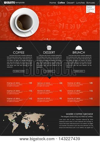 Design a web site with a view from above of a cup of black coffee. Template icons banners and hand drawings for shops or cafes. Vector illustration