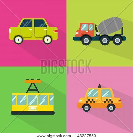 Set of great flat icons with style long shadow icon and use for transportation, public transit , vehicle and much more.
