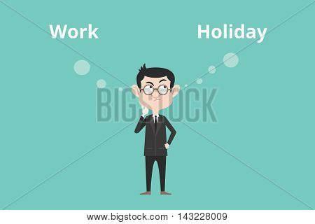 work or holiday business man confuse to choose between this two option vector