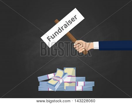fundraiser illustration with businessman hold a stick paper with cash money vector