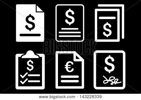 Invoice vector icons. Pictogram style is white flat icons with rounded angles on a black background.