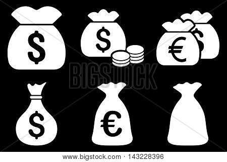 Money Bag vector icons. Pictogram style is white flat icons with rounded angles on a black background.