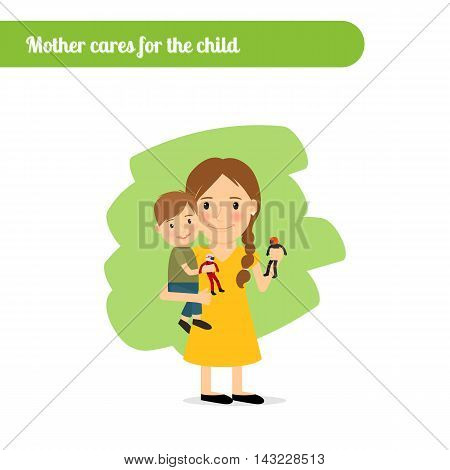 Mother cares for the child, vector cartoon character