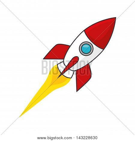 rocket space transportation vehicle flame astronomy vector illustration