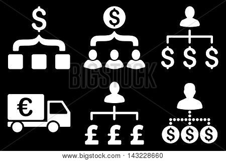 Payment Collector vector icons. Pictogram style is white flat icons with rounded angles on a black background.