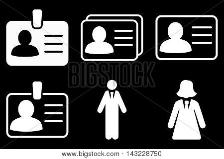 Person Account Card vector icons. Pictogram style is white flat icons with rounded angles on a black background.