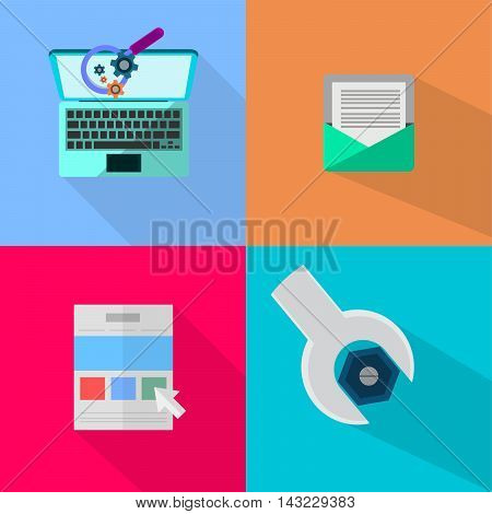 WEB and Development | Set of great flat icons with style long shadow icon and use for WEB.