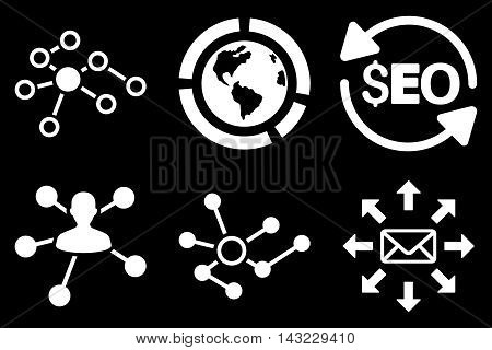 Seo Link Building vector icons. Pictogram style is white flat icons with rounded angles on a black background.