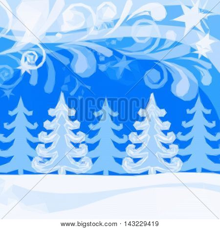 Christmas Landscape, Winter Snowy Forest and Abstract Patterns, Low Poly Background for Holiday Design. Vector