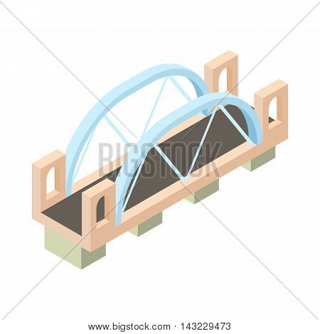 Bridge with column icon in cartoon style isolated on white background. Architecture symbol