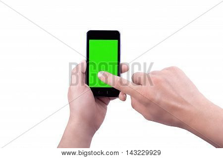 Hand  Of Man Use Mobile Smart Phone With Chroma Key Green Screen