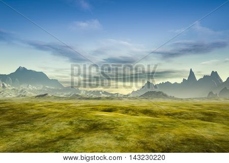 3d rendering of a fantasy scenery without plants