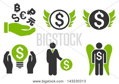 Angel Investor vector icons. Pictogram style is bicolor eco green and gray flat icons with rounded angles on a white background.