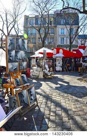 Paris, France - April 20, 2015: Place Du Tertre In Montmartre