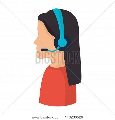 headset person call operator reception assistant support communication service vector illustration