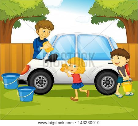 Dad and kids washing car in the park illustration