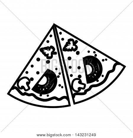 pizza food fast italian delicious ingredients tasty vector illustration