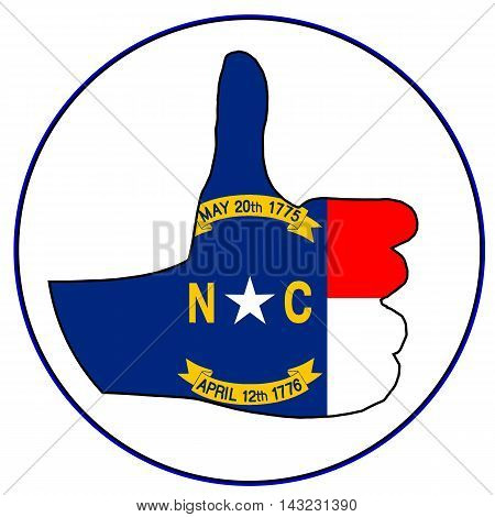 North Carolina Flag hand giving the thumbs up sign all over a white background
