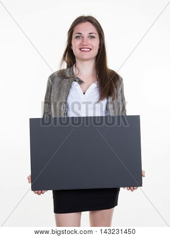 woman showing a black blank page of clipboard