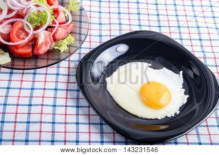 Homemade Breakfast Of Fried Egg And Vegetables