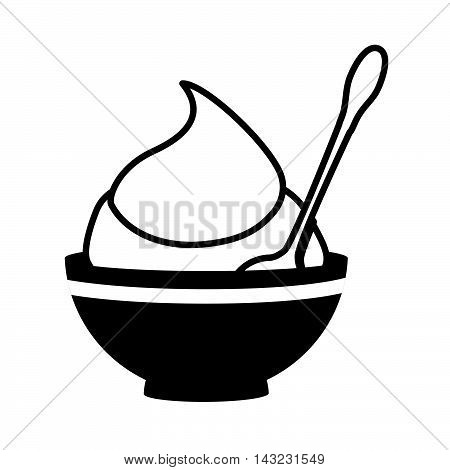 mustard sauce flavor food ingredient tasty bowl spoon product vector illustration