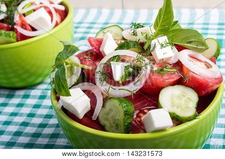 Useful Vegetarian Salad With Raw Tomatoes, Cucumbers And Onions