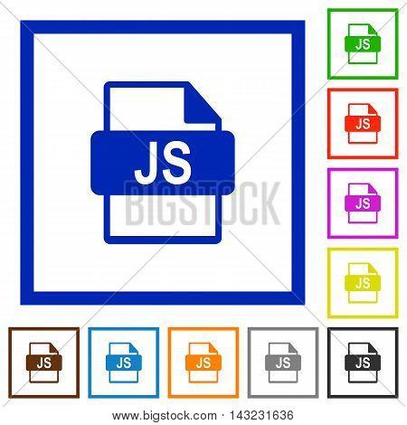 Set of color square framed JS file format flat icons
