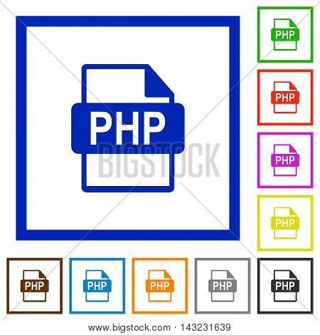 Set of color square framed PHP file format flat icons