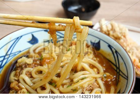 Curry udon Japanese In a the Pinstripe Bowl