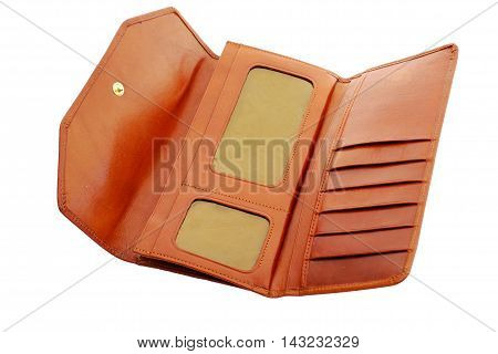 Brown Leather Purse on a white background
