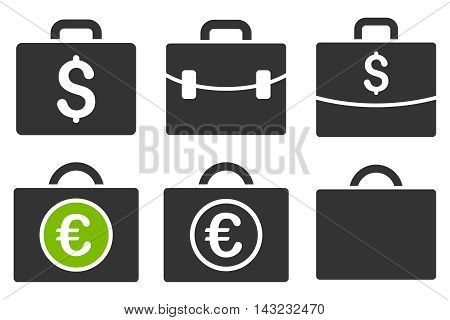 Business Case vector icons. Pictogram style is bicolor eco green and gray flat icons with rounded angles on a white background.