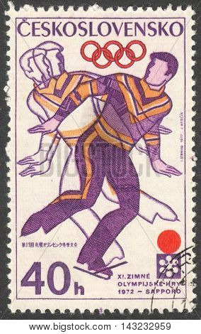 MOSCOW RUSSIA - CIRCA JUNE 2016: a post stamp printed in CZECHOSLOVAKIA shows Figure Skating the series