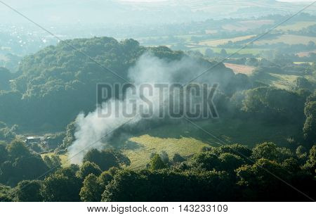 Early morning over Marshwood Vale in Devon England