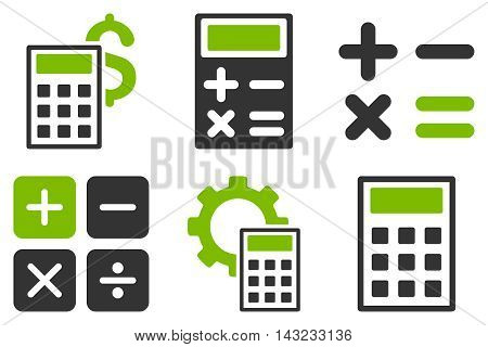 Calculator vector icons. Pictogram style is bicolor eco green and gray flat icons with rounded angles on a white background.
