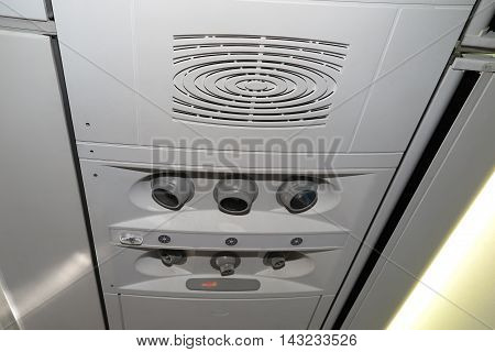 Close Up Of Overhead Console In A Airplane.