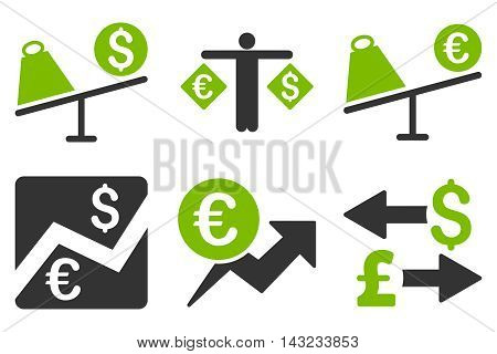 Currency Trading vector icons. Pictogram style is bicolor eco green and gray flat icons with rounded angles on a white background.
