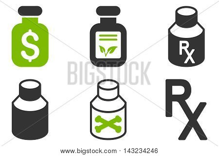 Drugs Vial vector icons. Pictogram style is bicolor eco green and gray flat icons with rounded angles on a white background.