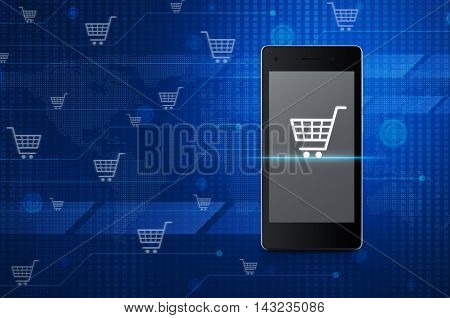 Shopping cart icon on modern smart phone screen over digital world map technology style Shop online concept Elements of this image furnished by NASA