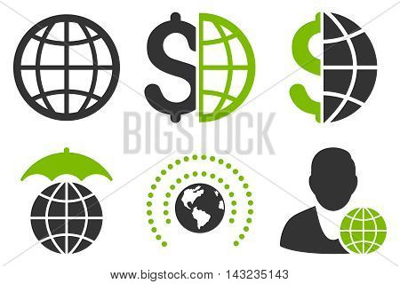 Global Business vector icons. Pictogram style is bicolor eco green and gray flat icons with rounded angles on a white background.