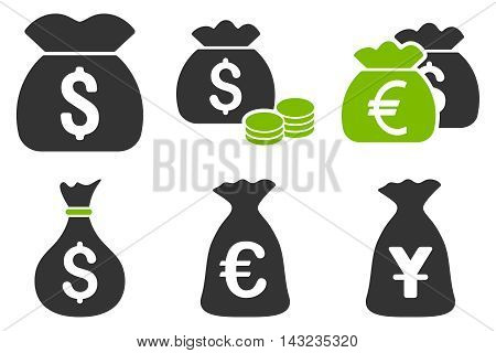 Money Bag vector icons. Pictogram style is bicolor eco green and gray flat icons with rounded angles on a white background.