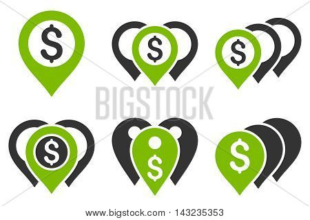 Money Map Markers vector icons. Pictogram style is bicolor eco green and gray flat icons with rounded angles on a white background.