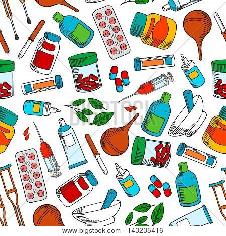 Medical treatments seamless background. Medicine wallpaper with vector pattern of medications icons syrup, ointment, pill, dropper, syringe, solution, tube, capsule, leaf potion nasal spray